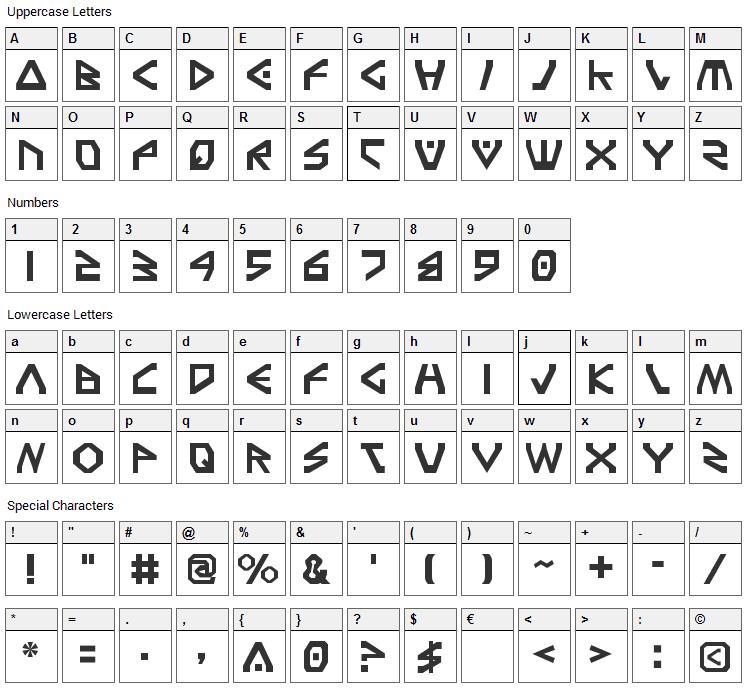 Terra Firma Font Character Map