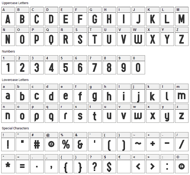 Tes Font Character Map
