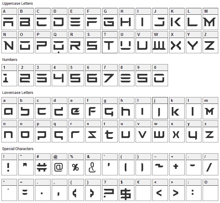 Tesla Font Character Map