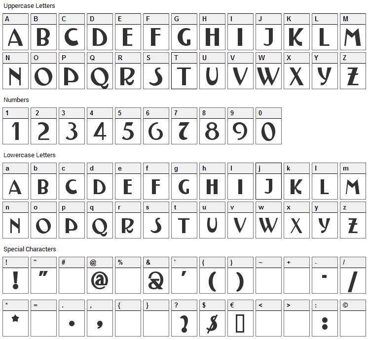 Testarossa Font Character Map
