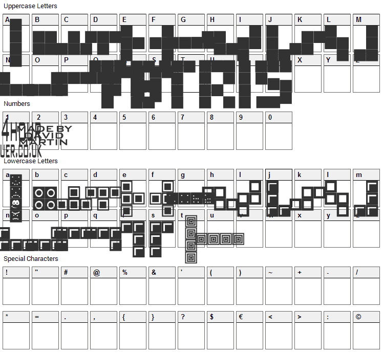 Tetris Blocks Font Character Map