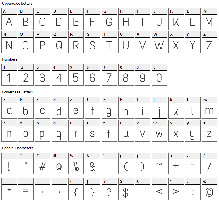 Text Me One Font Character Map