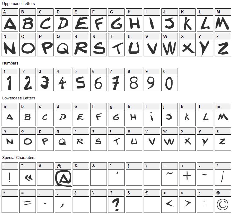 Texte decriture Lanfeust Font Character Map