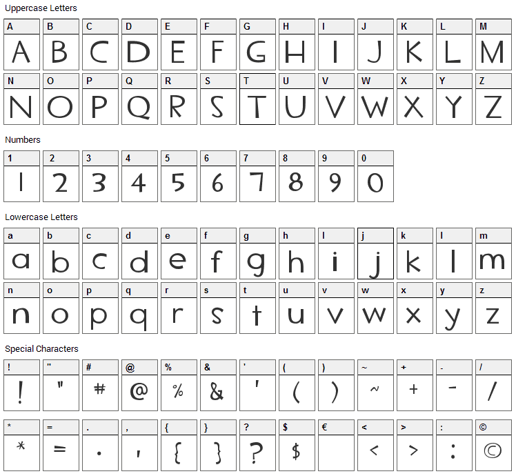 TF2 Secondary Font Character Map