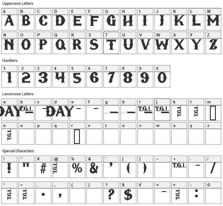 TGI Friday Font Character Map