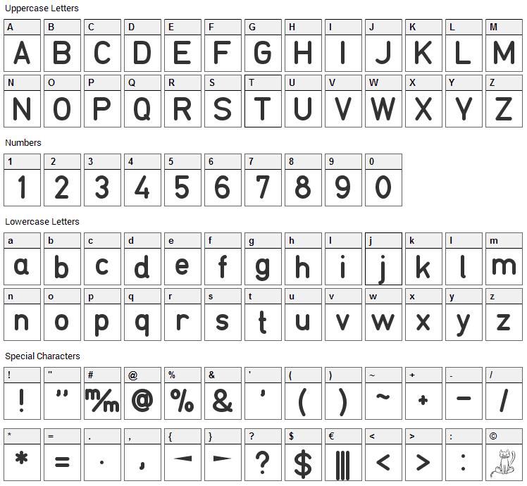 TGL 0-16 Font Character Map