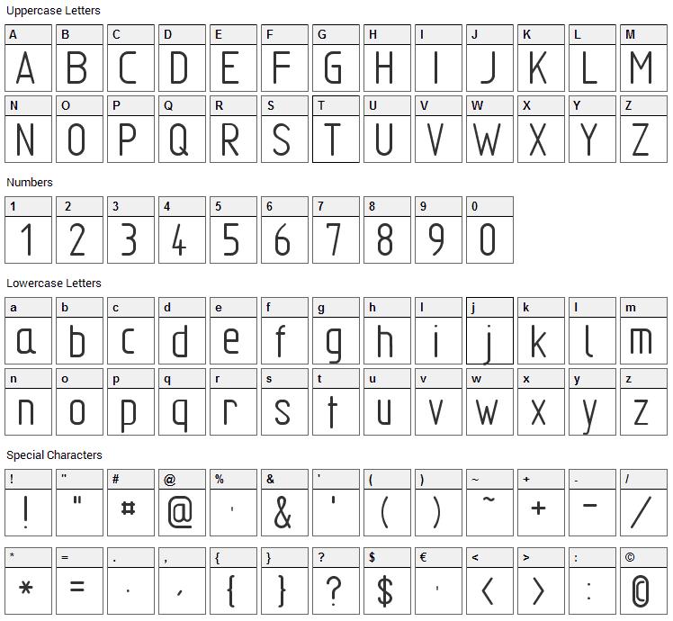 TGL 31034 Font Character Map