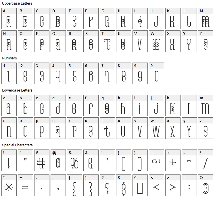 Thai Pedicure Font Character Map