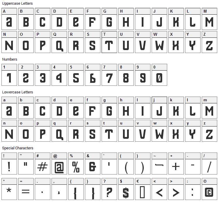 Thailandesa Font Character Map