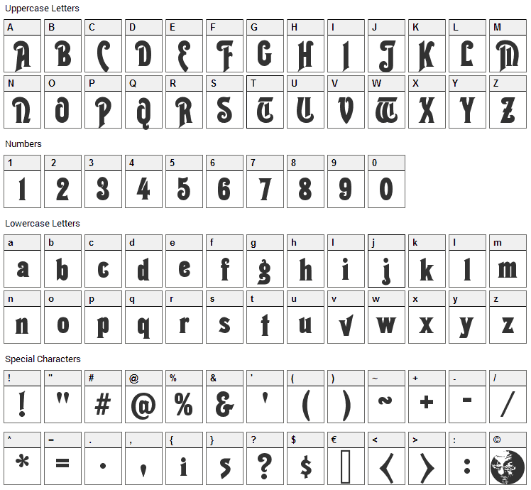 Thaleia Font Character Map