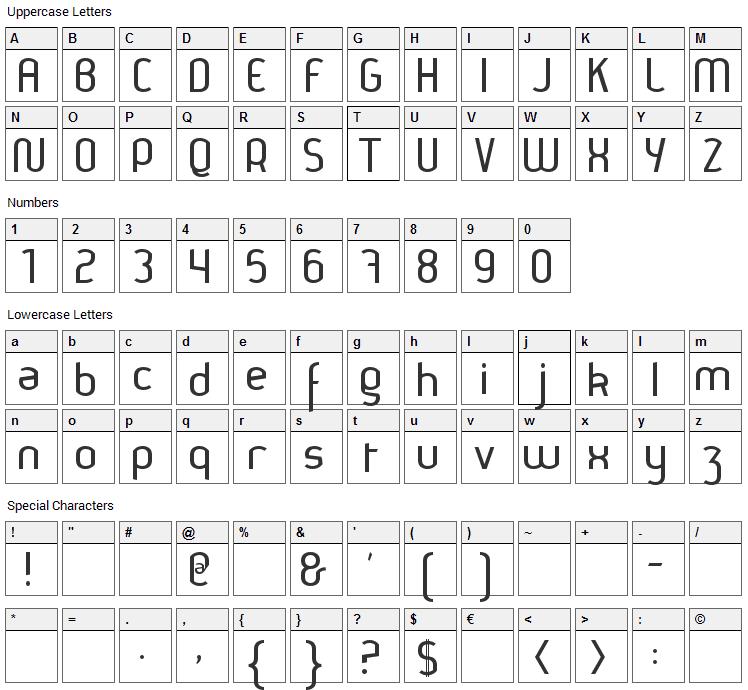 Thamara Font Character Map