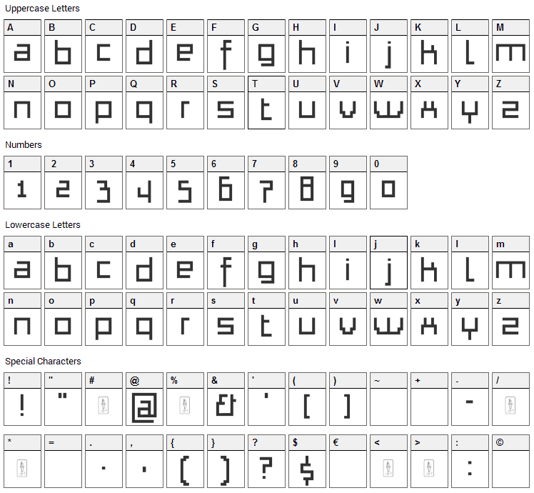 Thapkie MG Font Character Map