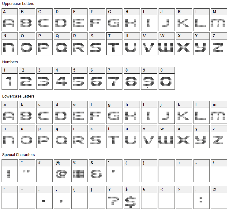 The 2K12 Font Character Map