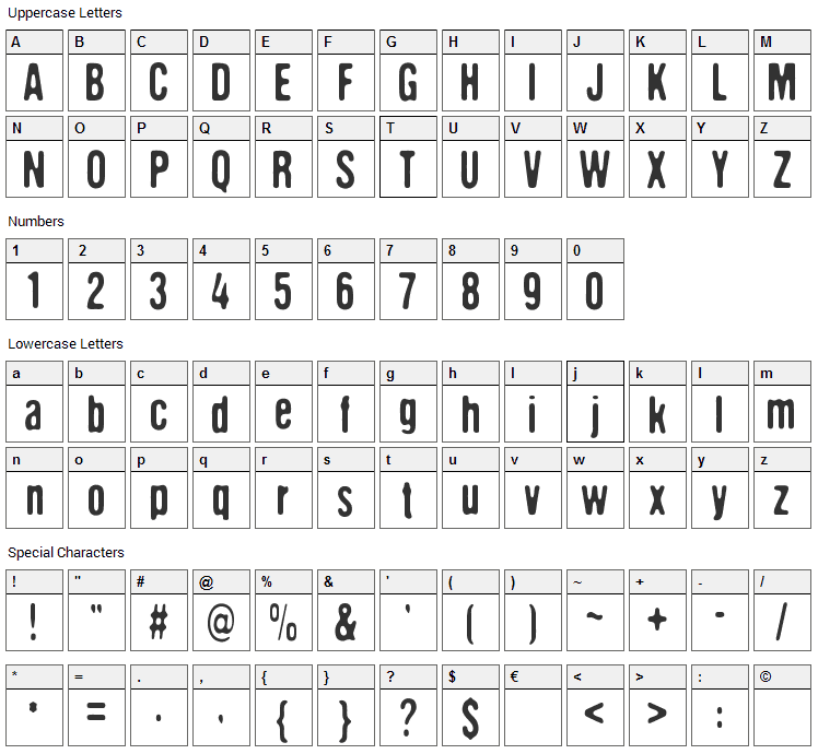 The aliens are coming Font Character Map