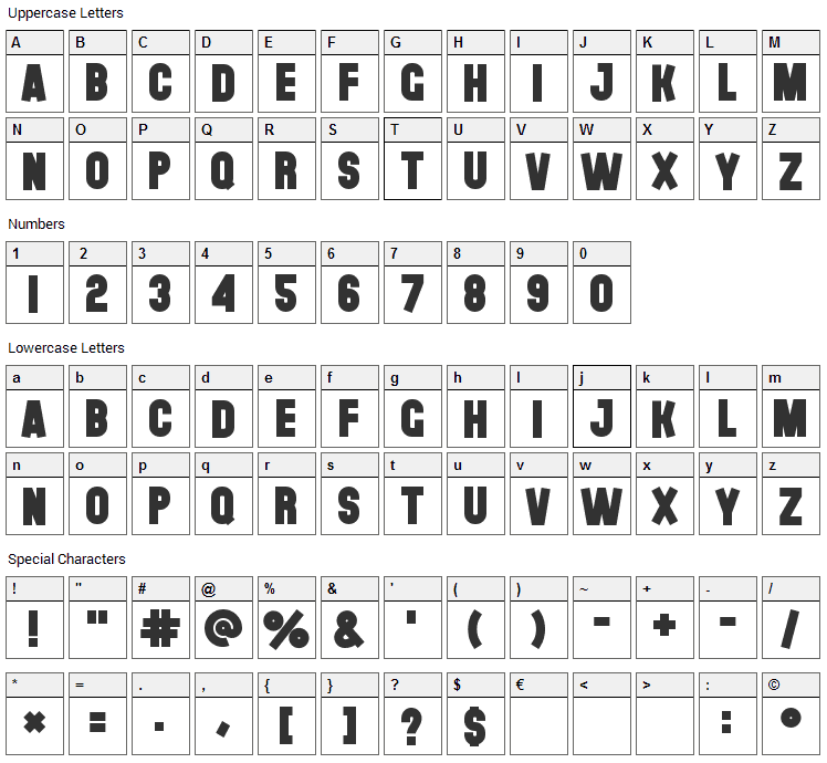 The Black Font Font Character Map