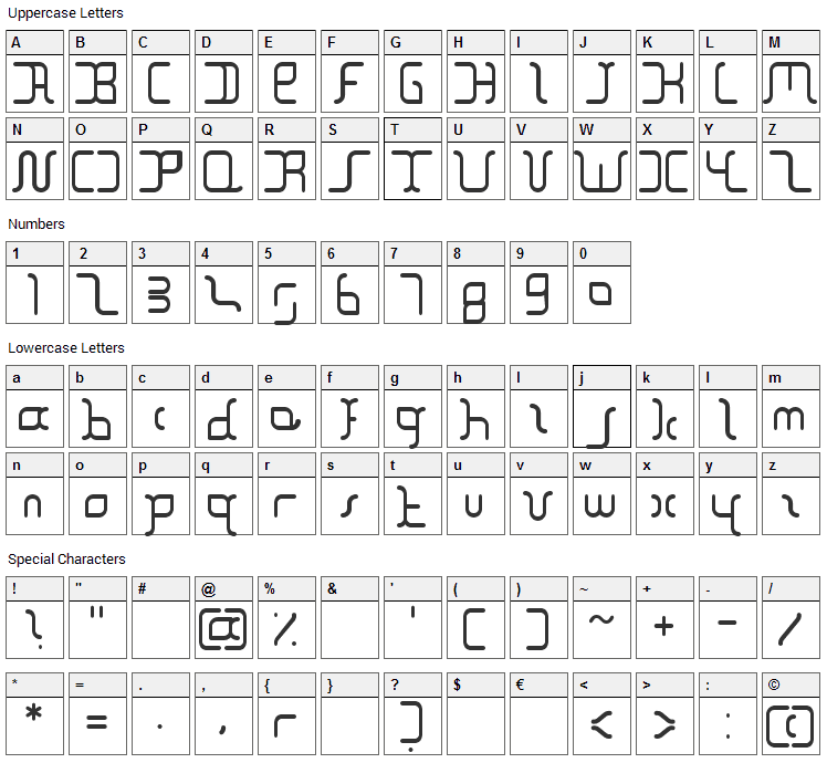 The Block Font Character Map