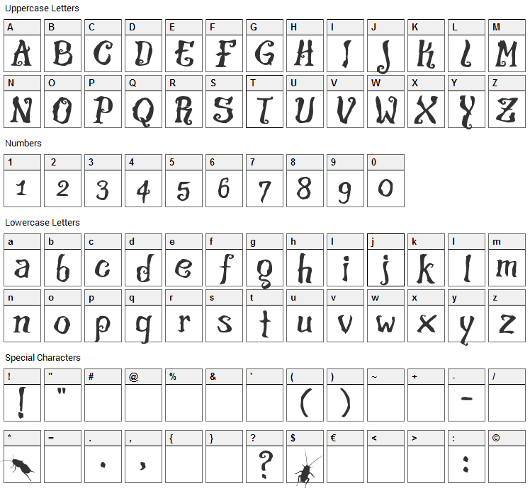 The Croach Font Character Map