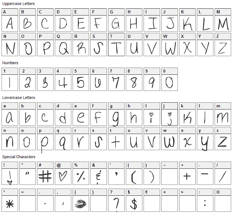 The Definition of Tabulous Font Character Map
