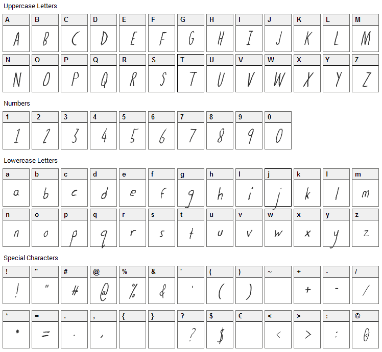 The Dog Ate My Homework Font Character Map