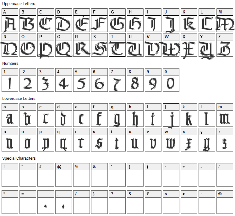 The End. Font Character Map