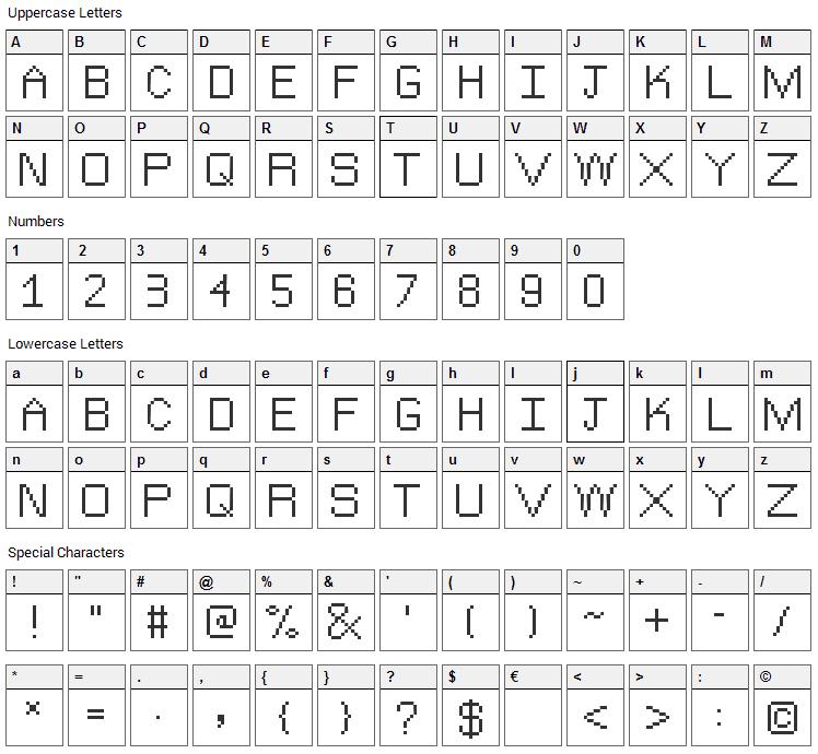 The Jewish Bitmap Font Character Map