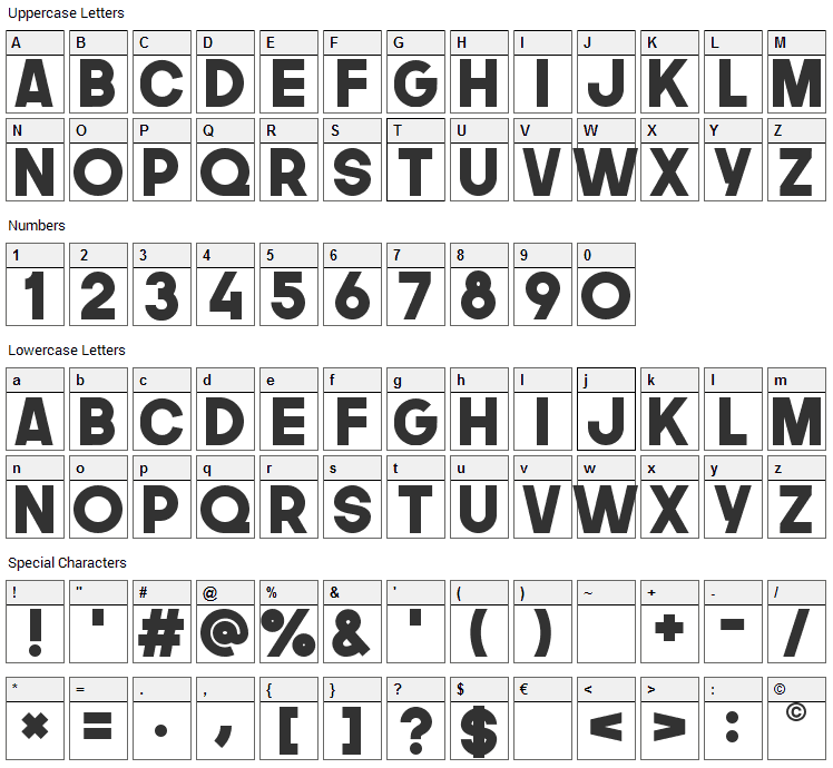 The Next Font Font Character Map
