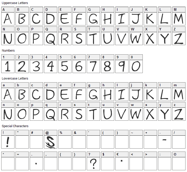 The Past Font Character Map