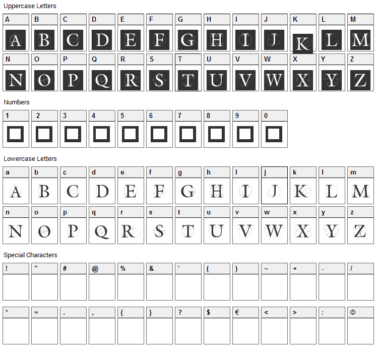 The Roots Font Character Map