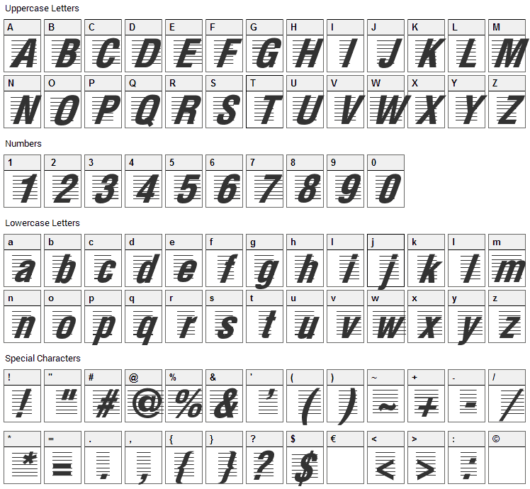 The Score Font Character Map