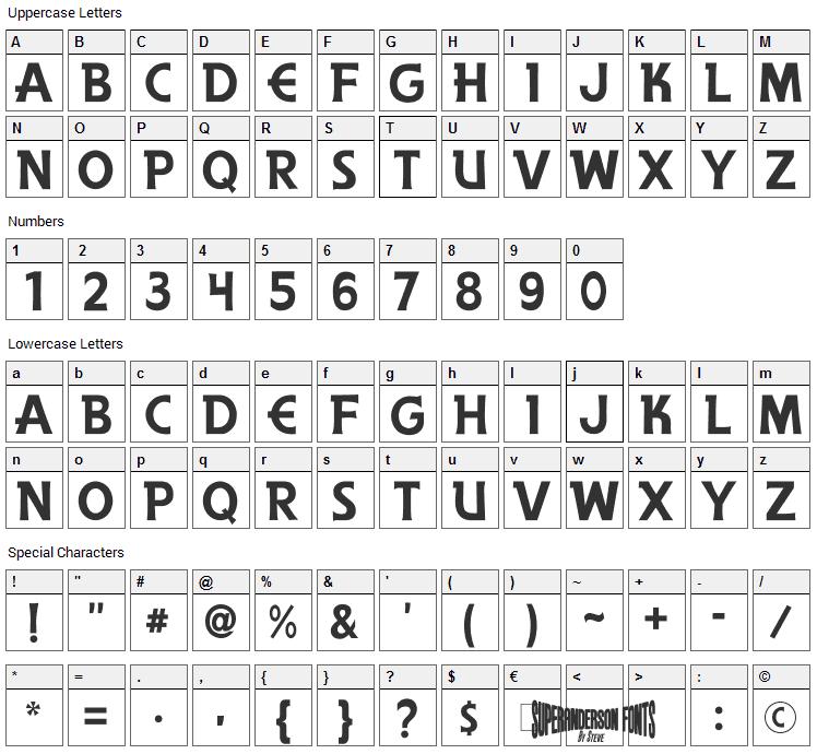 The Secret Service Font Character Map