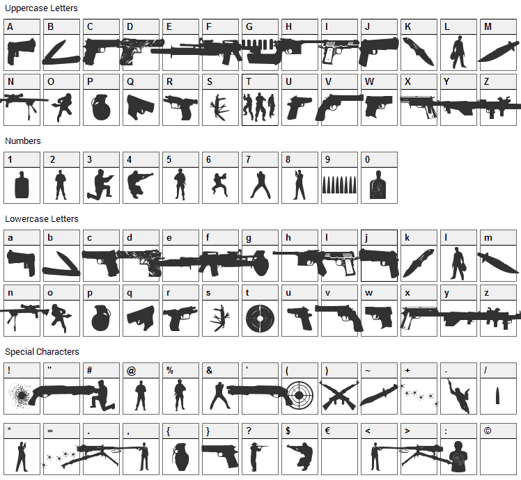 The Shooter Font Character Map