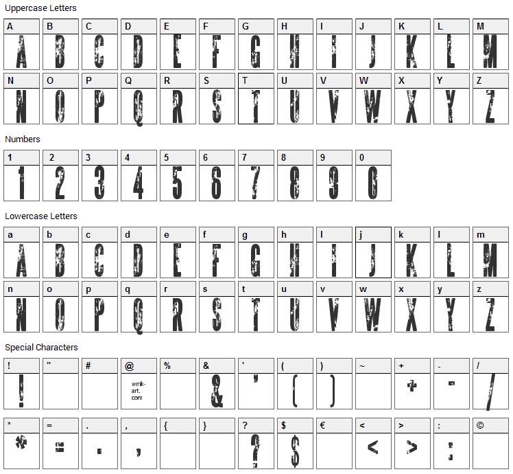 The Sickmen Font Character Map