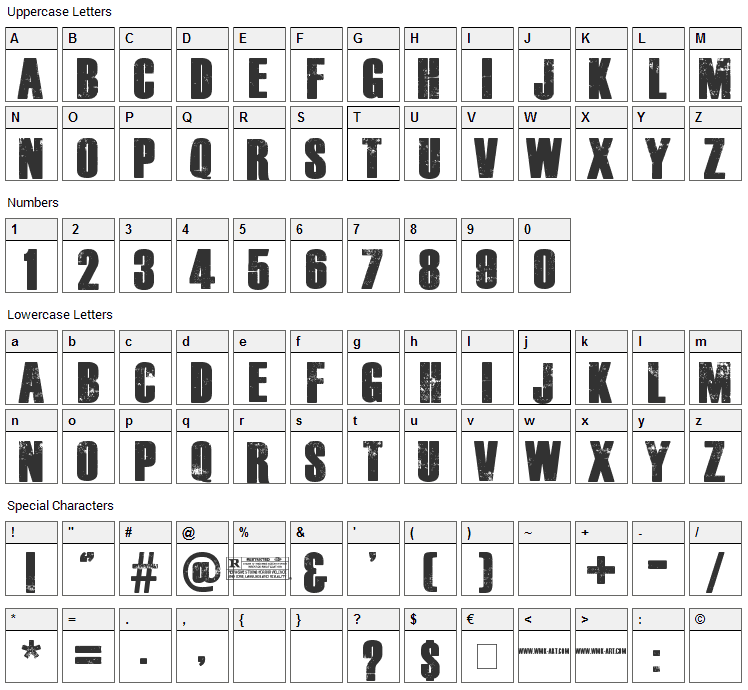 The Walking Dead Font Character Map