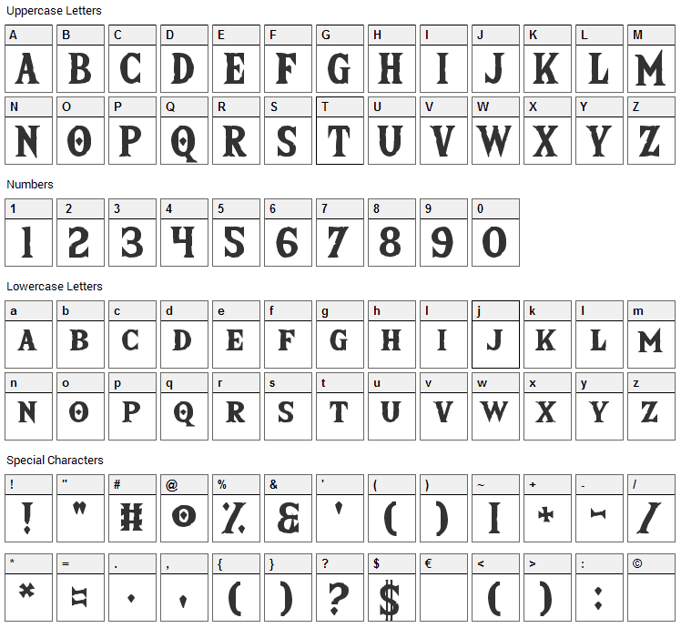 The Wild Breath of Zelda Font Character Map