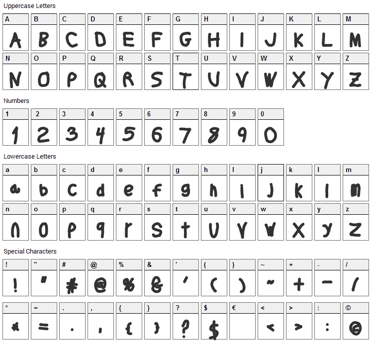 Thicker Than Font Character Map
