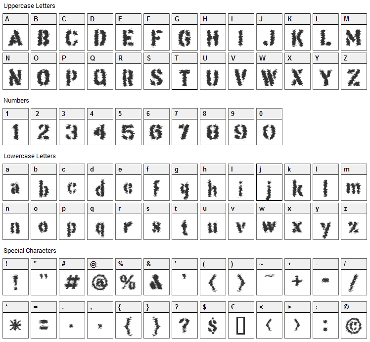 This Corrosion Font Character Map
