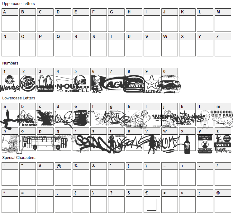 This Is My Town 3 Font Character Map