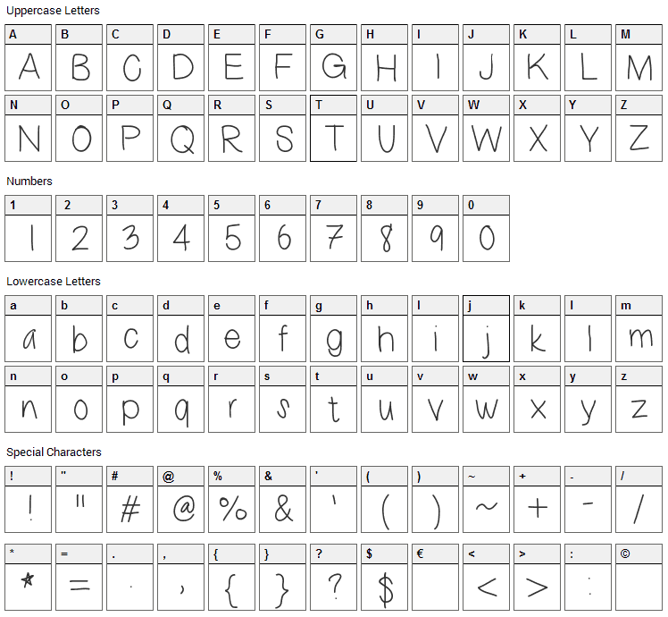 This Sux Font Character Map