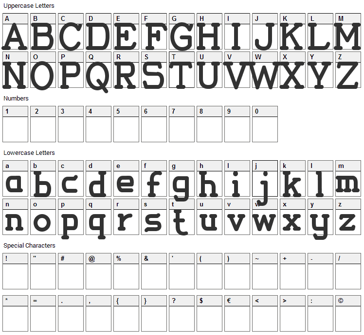 Thomas Elegant Font Character Map