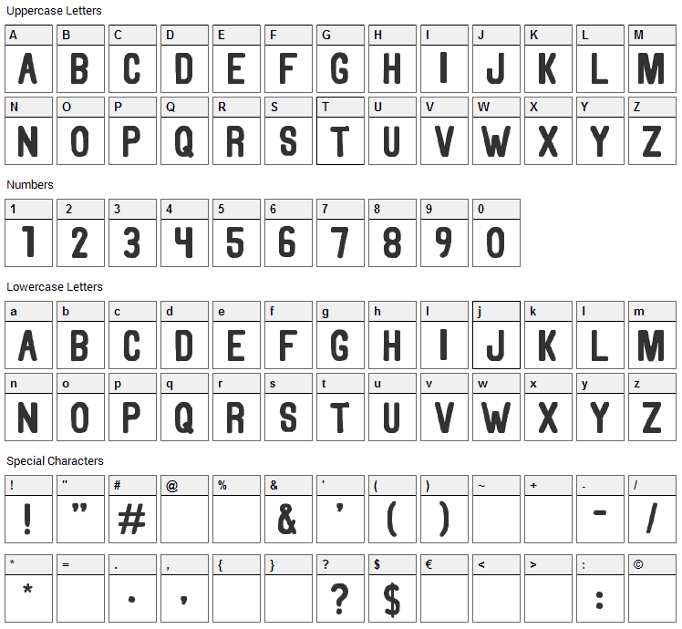 Thorne Font Character Map
