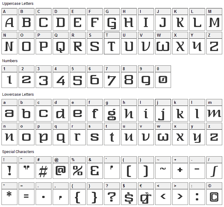 Three-Sixty Font Character Map