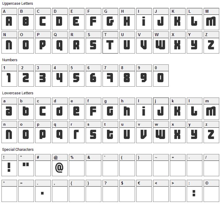 Three the Hard Way Font Character Map