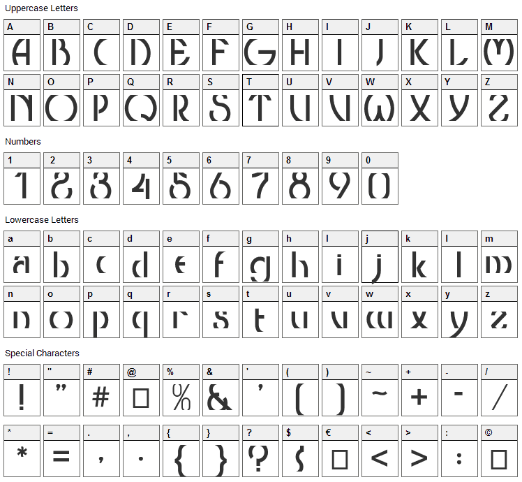 Threshold Font Character Map