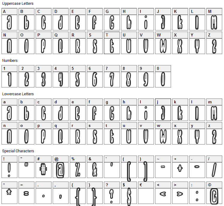 Thrownup Font Character Map