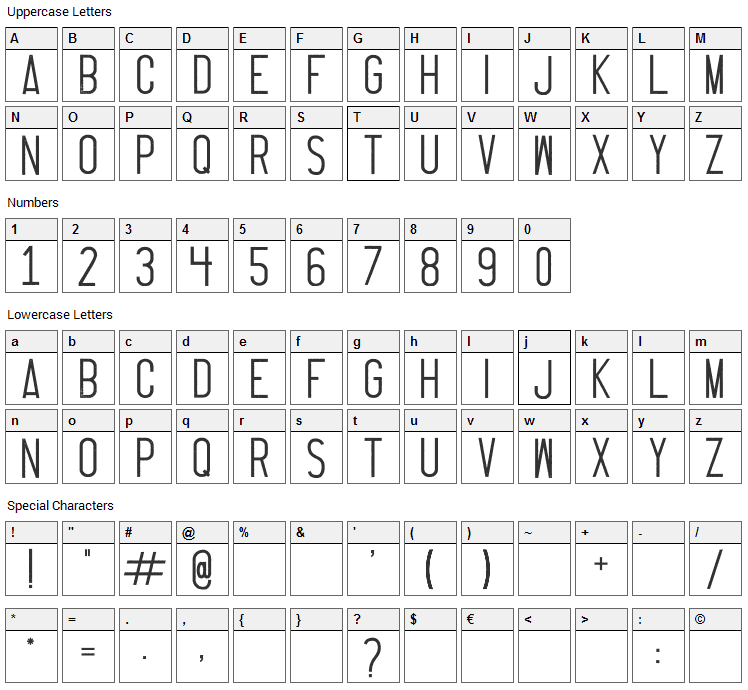 Thruster Font Character Map