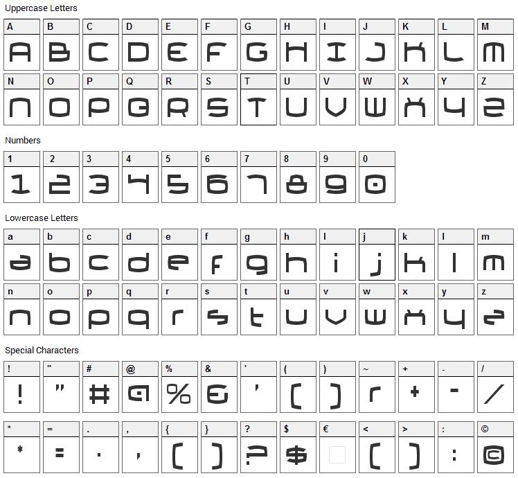 Thundergod II Font Character Map