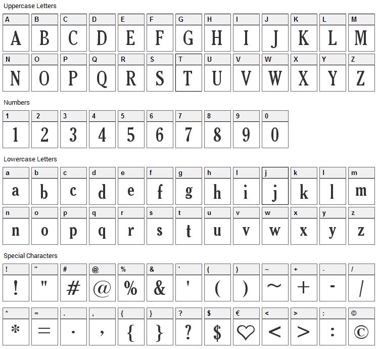Thyssen J Font Character Map