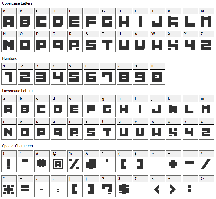 Tibitto Font Character Map