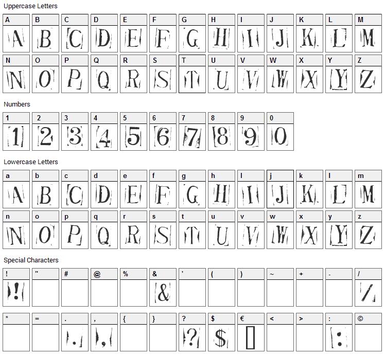 Ticket Capitals Font Character Map