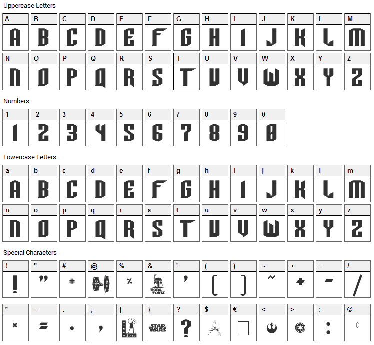 Tie Wing Font Character Map